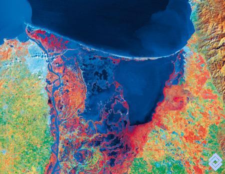 Imagen satelital de ciénaga grande de  magdalena
